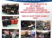 Importante svendita fallimentare al dettaglio di borse, trolley, cinture, portafogli ed abbigliamento sportivo, tecnico e da montagna